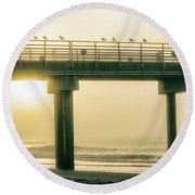 Round Beach Towel featuring the photograph Sunrise Pier In Alabama  by John McGraw