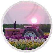 Sunrise Pink Greets John Deere Tractor Round Beach Towel