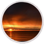 Sunrise Rays Round Beach Towel by Nancy Landry