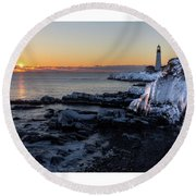 Sunrise Reflection Round Beach Towel