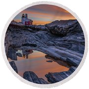 Sunrise Reflections At Pemaquid Point Round Beach Towel