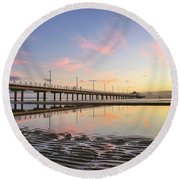 Sunrise Reflections At The Shorncliffe Pier Round Beach Towel