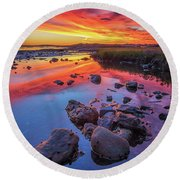 Sunrise Reflections In Harpswell Round Beach Towel