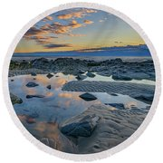 Round Beach Towel featuring the photograph Sunrise Reflections On Wells Beach by Rick Berk