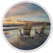 Round Beach Towel featuring the photograph Sunrise Romance by Debra and Dave Vanderlaan