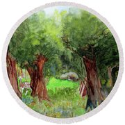 Round Beach Towel featuring the painting Sunrise by Sandy McIntire