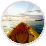 Sunrise Seascape Kayak Adventure Round Beach Towel