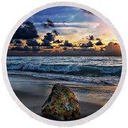 Sunrise Seascape Wisdom Beach Florida C3 Round Beach Towel