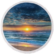 Sunrise Seascape With Footprints In The Sand Round Beach Towel