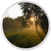 Sunrise Shadows Through Fog Round Beach Towel by Kent Lorentzen