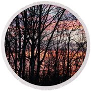 Sunrise Silhouette And Light Round Beach Towel