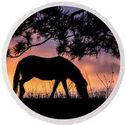 Sunrise Silhouette Round Beach Towel