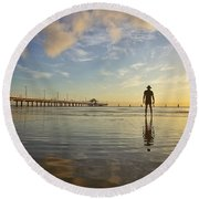 Sunrise Silhouette Down By The Pier. Round Beach Towel