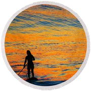 Sunrise Silhouette Round Beach Towel by Kathy Long