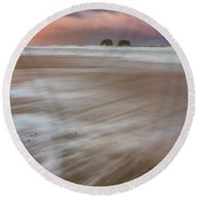 Round Beach Towel featuring the photograph Sunrise Storm At Twin Rocks by Darren White
