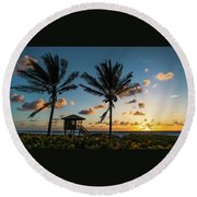 Sunrise Sunburst Palms Delray Beach Florida Round Beach Towel