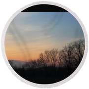 Fall Sunset Round Beach Towel