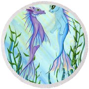 Sunrise Swim - Sea Dragon Mermaid Cat Round Beach Towel