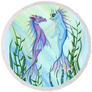 Round Beach Towel featuring the painting Sunrise Swim - Sea Dragon Mermaid Cat by Carrie Hawks
