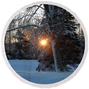 Sunrise Through Branches Round Beach Towel by Kent Lorentzen