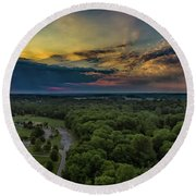 Sunrise Thru The Clouds Round Beach Towel