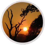 Sunrise Trees Round Beach Towel