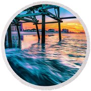 Sunrise Under Cherry Grove Pier Round Beach Towel