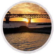 Sunrise Under Coleman Bridge Round Beach Towel