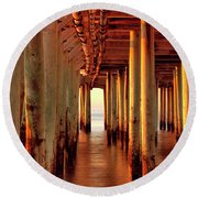 Sunrise Under The Pier Round Beach Towel