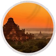 Sunrise View Of Dhammayangyi Temple Round Beach Towel