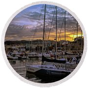 Sunrise Vigo Harbour Galacia Spain Round Beach Towel by Lynn Bolt