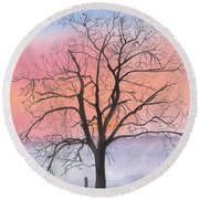 Sunrise Walnut Tree 2 Watercolor Painting Round Beach Towel