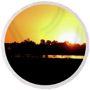 Sunrise Water Tower Round Beach Towel