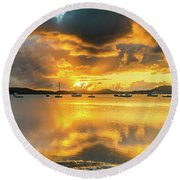Sunrise Waterscape With Reflections Round Beach Towel