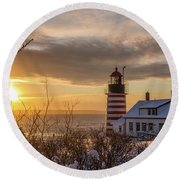 Sunrise West Quoddy Lighthouse Round Beach Towel by Trace Kittrell