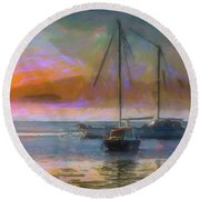 Sunrise With Boats Round Beach Towel