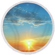 Sunrise With Flare Round Beach Towel by David Stasiak