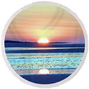 Sunrise X I V Round Beach Towel by Newwwman