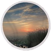 Sunrise Through The Fog Round Beach Towel