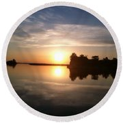 Sunset @ Rend Lake Round Beach Towel