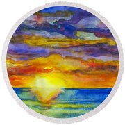 Sunset 1 Round Beach Towel