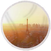 Sunset Above Paris Round Beach Towel