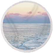Sunset Across The Frozen Lake Round Beach Towel
