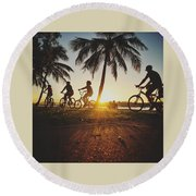 Round Beach Towel featuring the photograph Sunset Adventures Along The River At Noosaville by Keiran Lusk