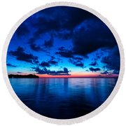 Round Beach Towel featuring the photograph Sunset After Glow by Christopher Holmes