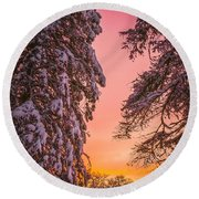 Sunset After Snow Round Beach Towel by Mike Ste Marie