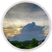 Round Beach Towel featuring the photograph Sunset After The Storm by Ricky L Jones