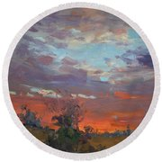 Sunset After Thunderstorm Round Beach Towel