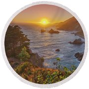 Sunset Along Highway 1 Big Sur California Round Beach Towel