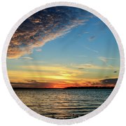 Sunset And Clouds Round Beach Towel by Doug Long